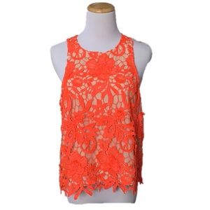 Cameo Sleeveless Bright Orange Lace Blouse Top